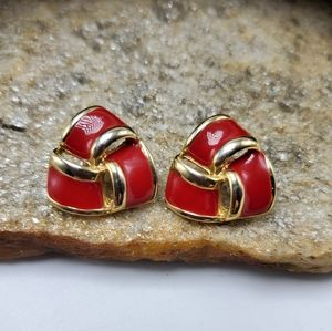 Vtg 80's Red Enamel Earrings Pierced Gold Tone